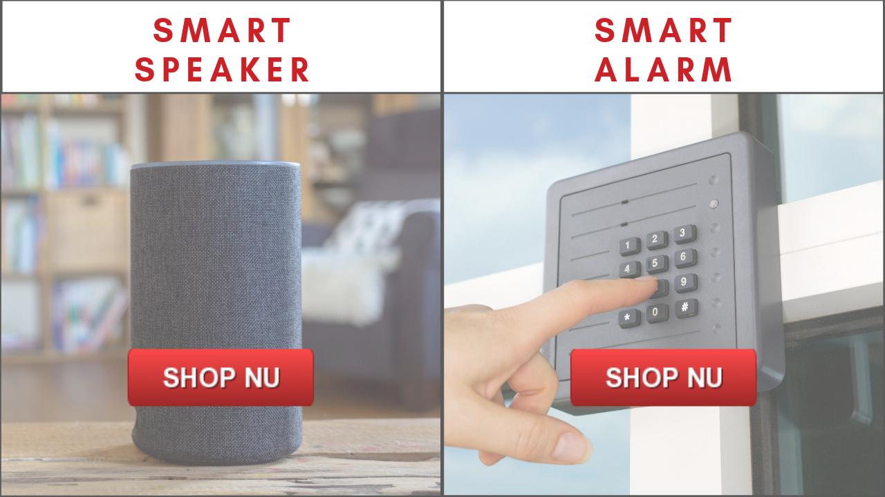 billig elektronik, smart speaker og smart alarm