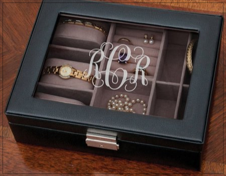 SHOPUSA - Personalized Monogram Black Jewelry Box