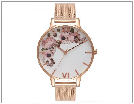 SHOPUSA - Signature Florals Mesh Bracelet Watch